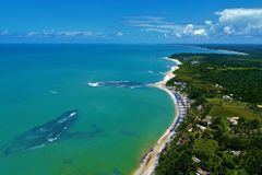 Aerial view of Trancoso beach, Porto Seguro, Bahia, Brazil. Aerial view of Trancoso and Arraial d`Ajuda beaches, Porto Seguro, Bahia, Brazil royalty free stock photo