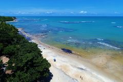 Aerial view of Trancoso beach, Porto Seguro, Bahia, Brazil. Aerial view of Trancoso and Arraial d`Ajuda beaches, Porto Seguro, Bahia, Brazil stock photo