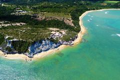 Aerial view of Trancoso beach, Porto Seguro, Bahia, Brazil. Aerial view of Trancoso and Arraial d`Ajuda beaches, Porto Seguro, Bahia, Brazil royalty free stock images