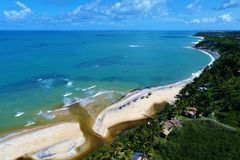 Aerial view of Trancoso beach, Porto Seguro, Bahia, Brazil. Aerial view of Trancoso and Arraial d`Ajuda beaches, Porto Seguro, Bahia, Brazil stock photography