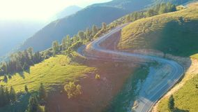 Aerial view of mountain road. Aerial view of Transalpina mountain road, Romania stock video