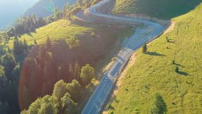 Aerial view of mountain road. Aerial view of Transalpina mountain road, Romania stock video footage