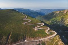 Aerial view of Transalpina mountain road, Romania. Top view of a beautiful mountain road in Transylvania royalty free stock images