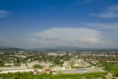 Aerial view  at Transcarpathia region, Europe. Royalty Free Stock Photos