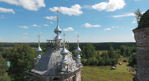 Aerial view of the Transfiguration church in Brynchagi village, Royalty Free Stock Photos