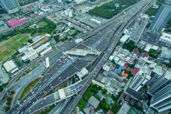 Aerial view of transportation traffic express way road in city, Royalty Free Stock Images
