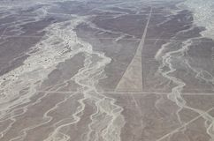 Aerial View of the Trapezoid Nazca Lines. In the Peruvian Desert stock photo