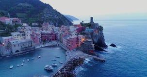 Aerial view of travel landmark destination Vernazza,small mediterranean sea town,Cinque terre National Park, Liguria. Aerial view of travel landmark destination stock video footage