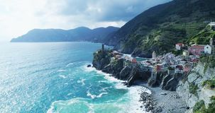 Aerial view of travel landmark destination Vernazza,small mediterranean sea town,Cinque terre National Park, Liguria stock video footage
