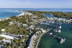 Treasure Cay Marina Aerial View 2 stock photography
