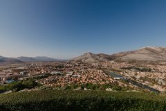 Aerial view of Trebinje city Bosnia and Herzwgovina stock photography