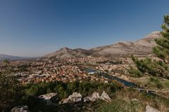Aerial view of Trebinje city Bosnia and Herzwgovina royalty free stock photography