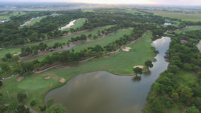 Aerial view of tree lined Golf Royalty Free Stock Photography