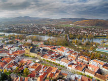 Aerial view of Trencin town, Slovakia Royalty Free Stock Photo