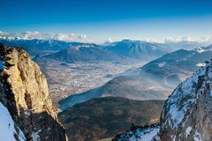 Aerial view on Trento from Paganella mountain stock images