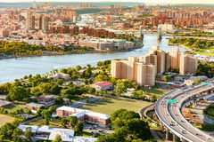 Aerial view of the Triborough Bridge on Randall`s Island in NYC. Aerial view of the Triborough Bridge on Randall`s Island in New York City stock photography