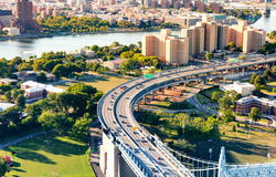 Aerial view of the Triborough Bridge on Randall`s Island in NYC. Aerial view of the Triborough Bridge on Randall`s Island in New York City royalty free stock images