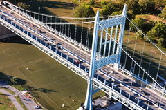 Aerial view of the Triborough Bridge on Randall`s Island in NYC. Aerial view of the Triborough Bridge on Randall`s Island in New York City stock photos