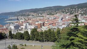 Aerial view of Trieste and the city seaport, Italy Royalty Free Stock Images