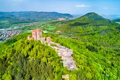 Trifels Castle in the Palatinate Forest. Rhineland-Palatinate, Germany. Aerial view of Trifels Castle in the Palatinate Forest. Major tourist attraction in royalty free stock image