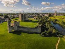 Aerial view. Trim Castle. county Meath. Ireland. Aerial view. Ruins of Trim Castle , Anglo-Norman keep at sunset. county Meath. Ireland stock photography