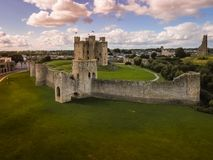 Aerial view. Trim Castle. county Meath. Ireland. Aerial view. Ruins of Trim Castle , Anglo-Norman keep. county Meath. Ireland stock photo