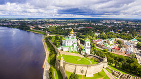 Aerial view of the Trinity Cathedral, Pskov Kremlin Royalty Free Stock Images
