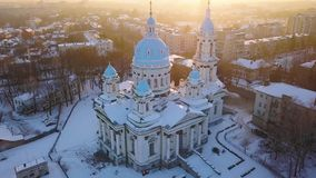 Aerial view of the Trinity Orthodox Cathedral. Sumy, Ukraine. Aerial view of the Trinity Orthodox Cathedral at sunset. Sumy, Ukraine stock video footage