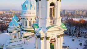 Aerial view of the Trinity Orthodox Cathedral. Sumy, Ukraine. Aerial view of the Trinity Orthodox Cathedral at sunset. Sumy, Ukraine stock video