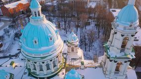 Aerial view of the Trinity Orthodox Cathedral. Sumy, Ukraine. Aerial view of the Trinity Orthodox Cathedral at sunset. Sumy, Ukraine stock footage