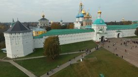 Aerial view Trinity-St. Sergius Lavra in Sergiev Posad. HD stock video footage