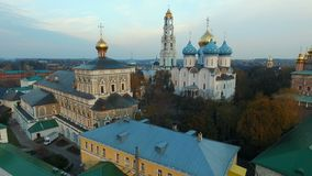 Aerial view Trinity-St. Sergius Lavra in Sergiev Posad. HD stock video