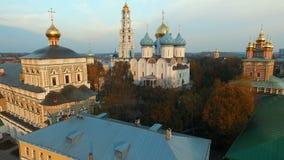 Aerial view Trinity-St. Sergius Lavra in Sergiev Posad. HD stock footage