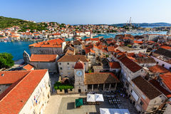 Aerial View on Trogir and it's Main Square royalty free stock photography