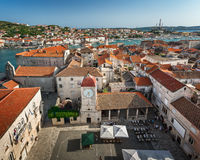 Aerial View on Trogir and it`s Main Square from Cathedral of Sai Stock Image