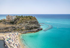 Aerial view of Tropea Beach and Santa Maria dell`Isola, Church - Tropea, Calabria, Italy Stock Images
