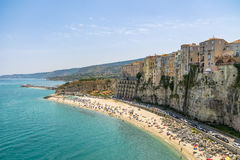 Aerial view of Tropea beach and town - Tropea, Calabria, Italy royalty free stock photography