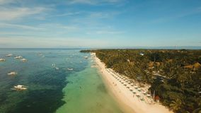 Aerial view beautiful Alona beach on a tropical island Bohol. Philippines. Aerial view of tropica Alona beach on the island Bohol, resort, hotels, Philippines stock video