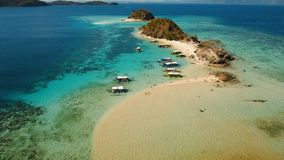 Aerial view beautiful beach on a tropical Bulog Dos Island. Philippines. Aerial view of tropical beach on the Bulog Dos Island, Philippines. Beautiful tropical Stock Image
