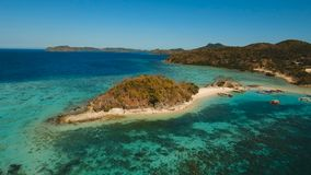 Aerial view beautiful beach on a tropical Bulog Dos Island. Philippines. stock video footage