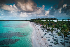 Aerial view of tropical beach, Dominican Republic royalty free stock photography