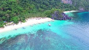 Aerial View of Tropical Beach Holiday, Seven Commandos Beach, El-Nido, Palawan Island, Philippines 03