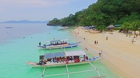 Aerial View of Tropical Beach Holiday, Seven Commandos Beach, El-Nido, Palawan Island, Philippines 01