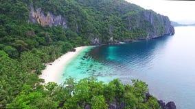 Aerial View of Tropical Beach Holiday, Seven Commandos Beach, El-Nido, Palawan Island, Philippines 02