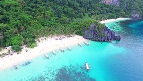 Aerial View of Tropical Beach Holiday, Seven Commandos Beach, El-Nido, Palawan Island, Philippines 04