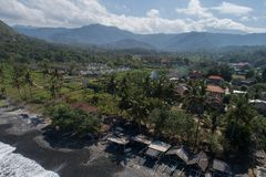 Aerial view of tropical beach on the island of Bali. Aerial drone view of tropical beach on the island of Bali, Indonesia Stock Photography