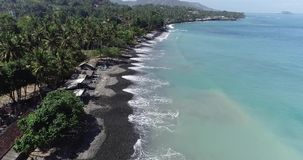 Aerial view of tropical beach on the island of Bali. Aerial drone view of tropical beach on the island of Bali, Indonesia stock video