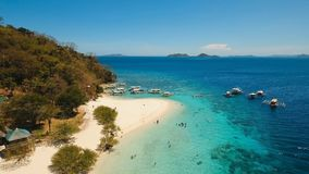 Aerial view beautiful beach on a tropical island Banana. Philippines. Stock Photography
