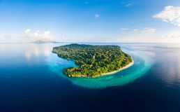 Aerial view tropical beach island reef caribbean sea. Indonesia Moluccas archipelago, Banda Islands, Pulau Ay. Top travel tourist