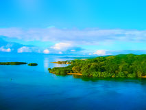 An aerial view of a tropical beach in Roatan Honduras. Early in the morning royalty free stock photos